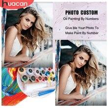HUACAN Personalización de foto pintura al óleo por números fotos dibujo lona color retrato de familia casa bricolaje decoración regalo