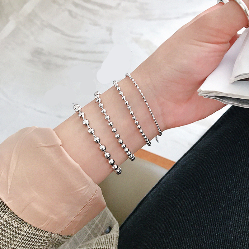925 Silver Big Bead Chain Bracelet 4mm 6mm 8mm 10mm Bracelet For Women Fine Jewelry For Banquet Wedding Anniversary