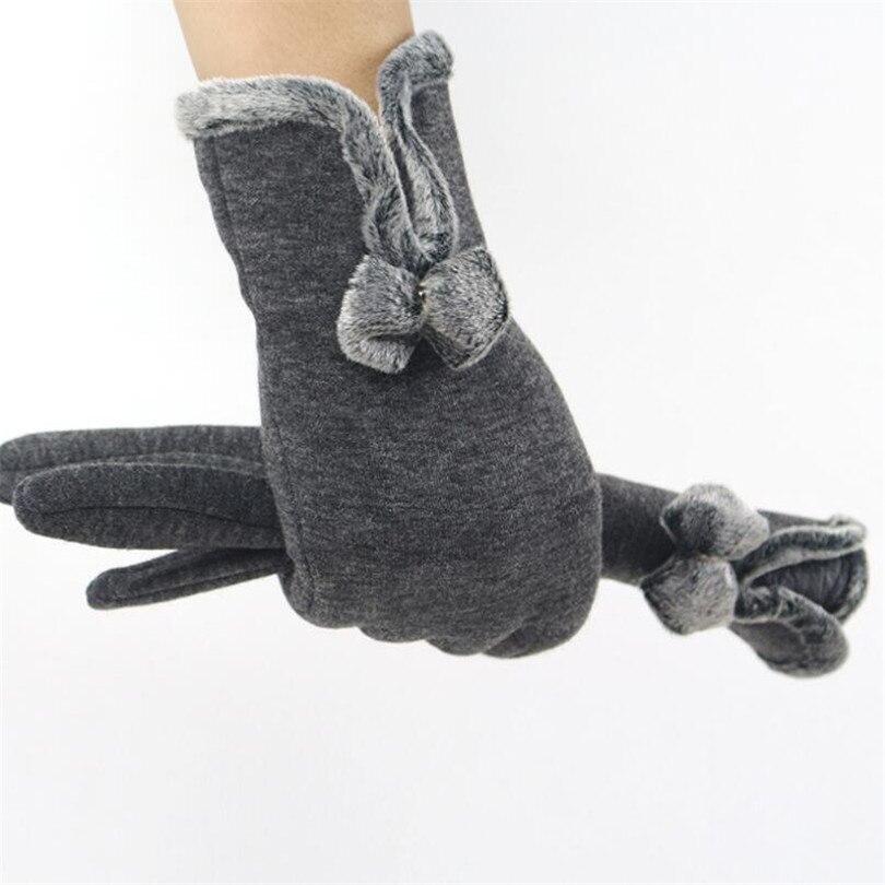 YRRETY 2019 New Winter Autumn New Fashion Women Full Finger Button Gloves Cashmere Stitching Glove Warm Adult Elegant Mittens