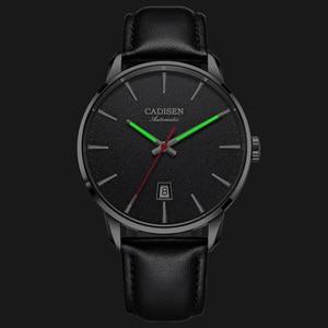 Image 5 - Cadisen 남자 시계 럭셔리 브랜드 일본 nh35a 사파이어 시계 남자 방수 캐주얼 비즈니스 가죽 손목 시계 relogio 8173