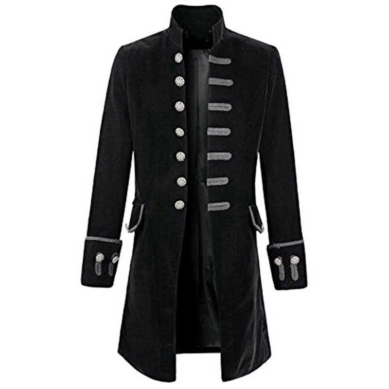 Retro Long Sleeve Jackets Coats Mens Self-cultivation Velvet Goth Steampunk Pure Color Frock Thick Fashion Windbreaker Overcoats