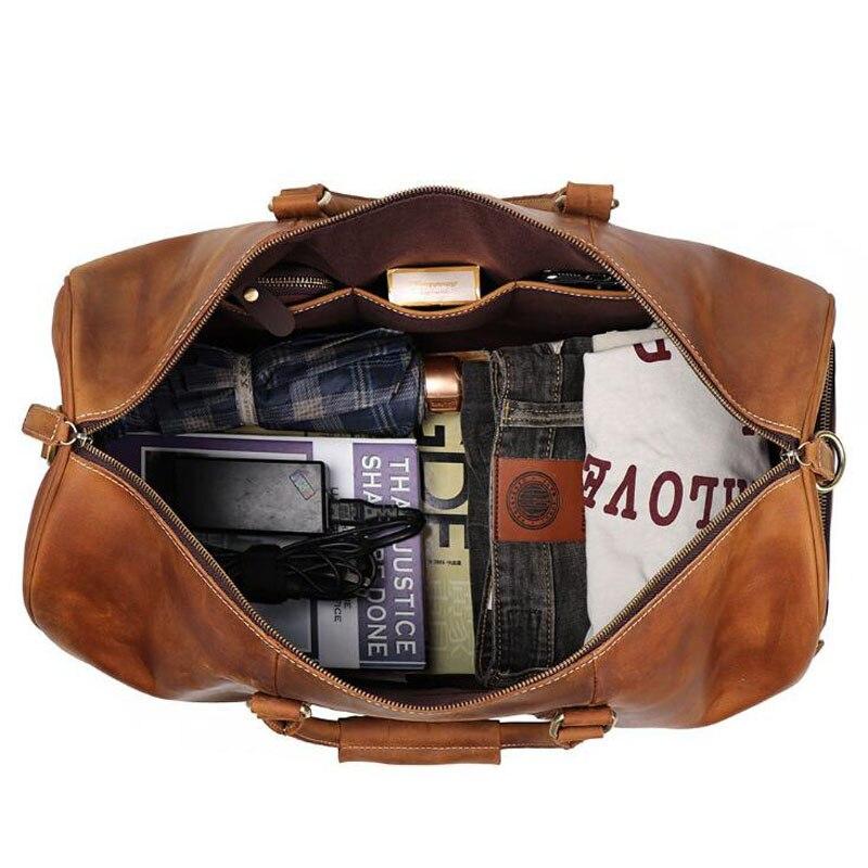 100% de cuero genuino bolsos de viaje de calidad para hombre equipaje de lona de gran capacidad con correa de hombro bolso de cuero de Caballo Loco - 5
