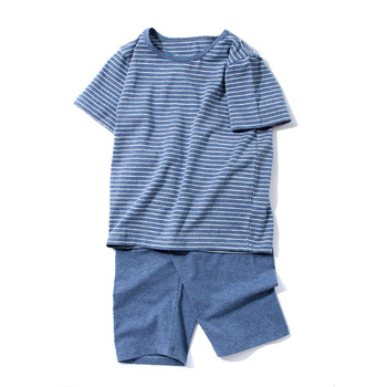 Set of 2 Pieces Cotton Striped Summer Sleepwear Outfit