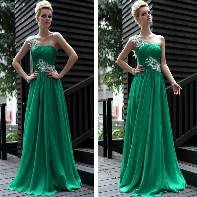 2018 Sexy Robe De Soiree A-Line Emerald Green Velvet One Shoulder Waist Sheer Flower Patch Women Gown Bridesmaid Dresses