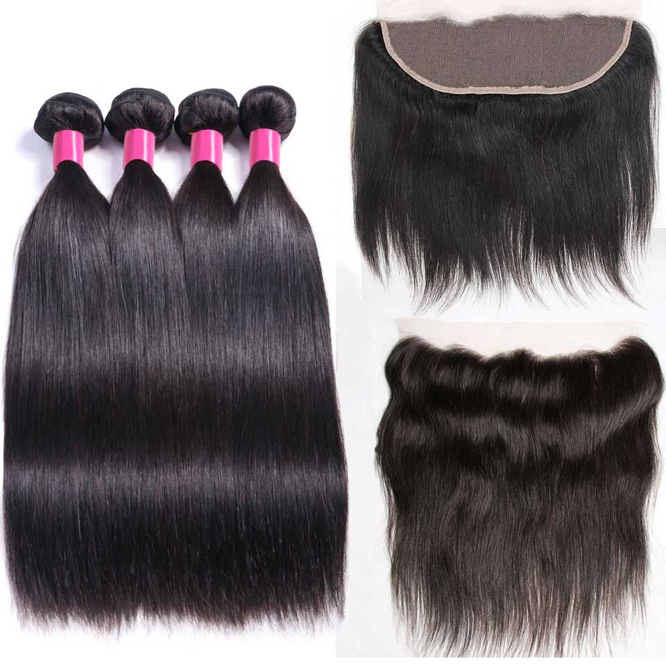Brazilian Straight Hair 3 Bundles With Frontal Non Remy Human Hair Bundles With Closure Pre Plucked 13*4 Swiss Lace Frontal