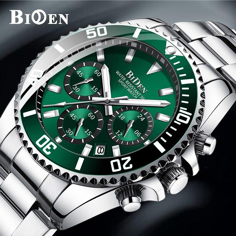 BIDEN Fashion Mens Watches Top Brand Luxury Waterproof Colck Stainless Steel Men Quartz Watch Gents Sport Wristwatch