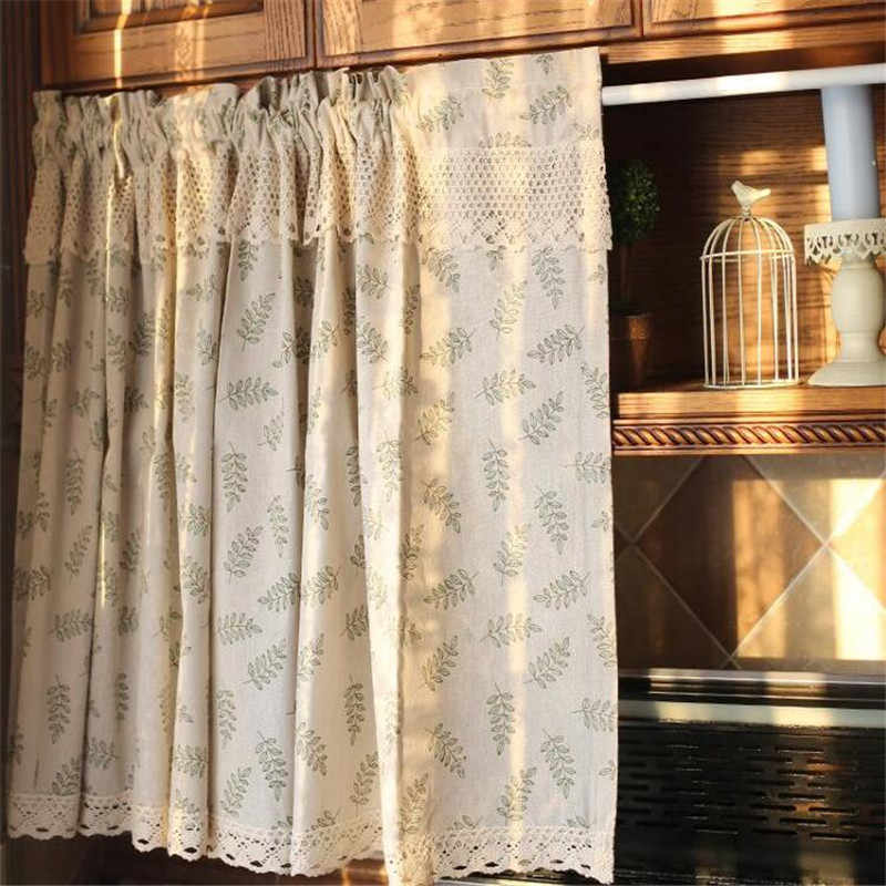 Rideau brodé de tube de bonne qualité | Rideau court de cuisine en dentelle et café plein de fleurs, petit rideau, livraison gratuite