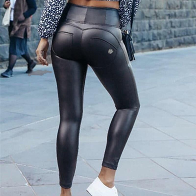 Imitation PU Leather Coated Fabric High Waist Mom Jeans Women Peach Push Up Hip Skinny Denim Pants Black Plus Size Jeans Woman