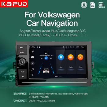 Kapud Android New 8''Multimidia Car Autoradio Stereo Gps Radio Receiver For VW/Volkswagen/Golf/Polo/Tiguan/Passat/b7/b6/Octavia image