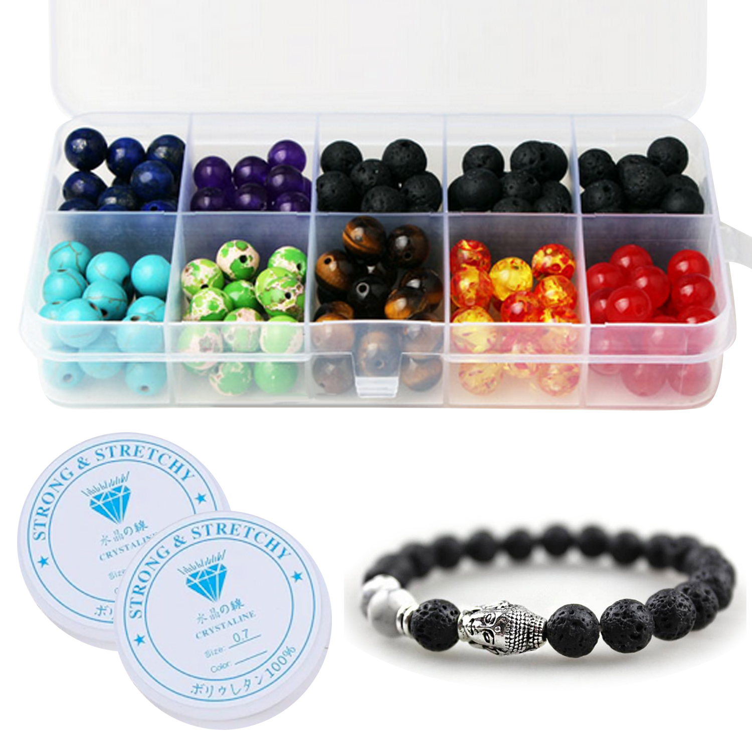 200Pcs Colorful Chakra Beads Black Lava Rock Stone Loose Beads Set With 2 Roll Crystal String Toy For Girl DIY Bracelet Necklace