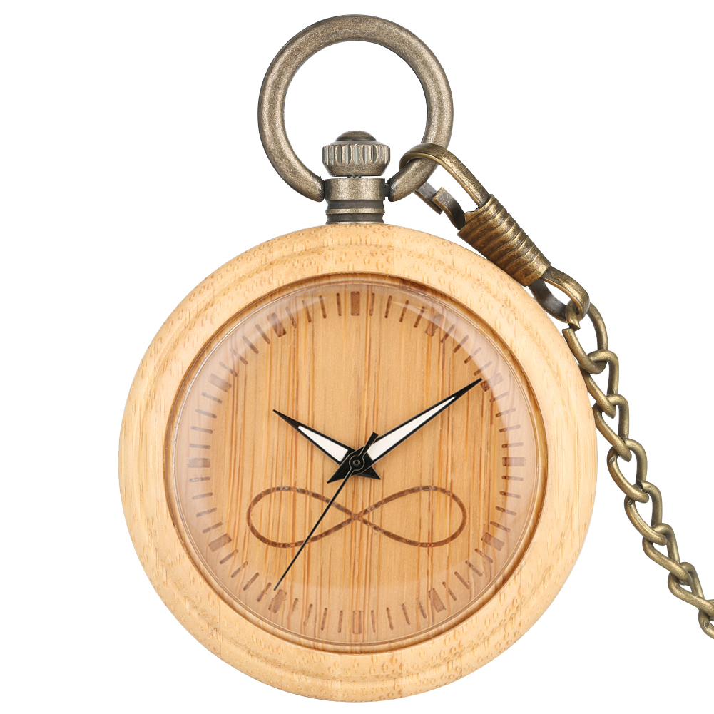 Bamboo Large Pocket Watch Men Infinite Mathematical Symbol Dial Bronze Rough Chain Pendant Watch For Female Relogio De Bolso