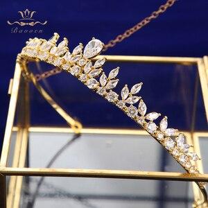 Image 5 - Bavoen Funkelnden Zirkon Hochzeit Kleid Haar Zubehör Gold Bräute Kronen Tiaras Überzogene Kristall Haarbänder Abend Haar Schmuck