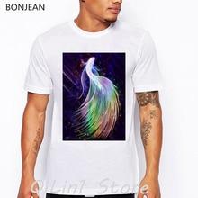 цены Pretty Rainbow color betta fish print tee shirt homme cool streetwear hip hop t shirt men summer top tumblr tshirt white t-shirt