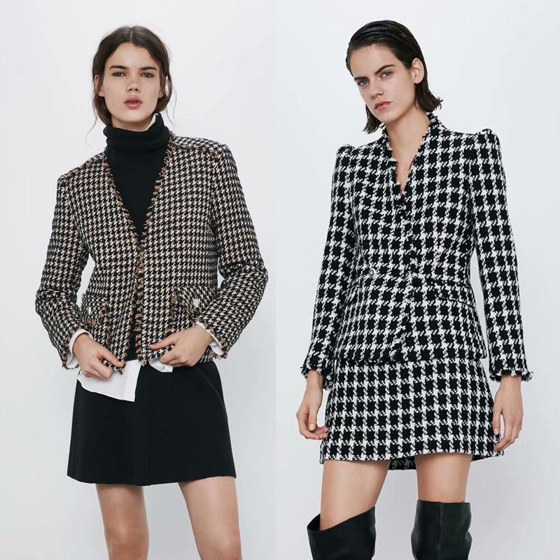 2020 ZA Elegant Short Blazer Jacket Women Tweed Plaid Houndstooth Coat Party Casual Loose Texture Temperament Office Lady New