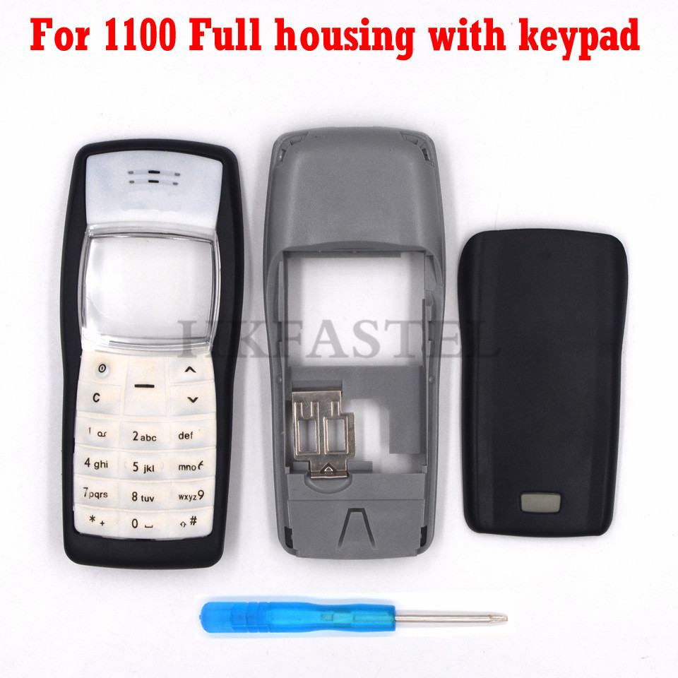 HKFASTEL New High Quality Cover For Nokia 1100 Full Mobile Phone Housing Cover Case English / Arabic Keypad Keyboard Tool
