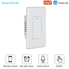 WiFi Tuya Smart Light Switch Push Button Smart Life Remote Control Works with Alexa Google Home for Voice Control 1/2/3 Gang