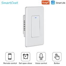 WiFi Tuya akıllı ışık anahtarı basma düğmesi akıllı yaşam uzaktan kumanda ile çalışır Alexa Google ev için ses kontrolü 1/2/3 Gang