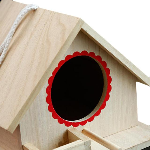 Bird Pet Nest Wooden Birdhouse Small Outdoor Garden Parrot Bird Nest Wooden Bird House Bird Cage Pet Supplies 2
