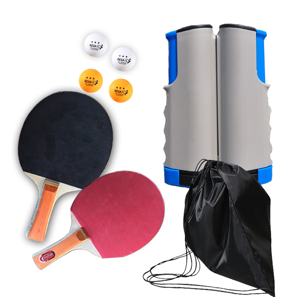 Ping Pong Racket Set Portable Retractable Ping-Pong Mesh Net Rack Bat Set Table Tennis Competition At Home Training Accessories