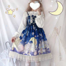Платье в стиле Лолиты для девочек с изображением космонавта кота; платье принцессы без рукавов; цельнокроеное платье с бантом и отделкой; 4 цвета