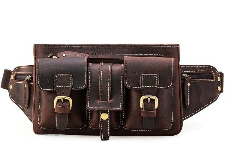 Genuine Leather Solid Men Casual Belt Bag Waist Packs High Quality