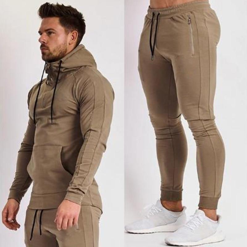 2019 New Fashion Print Men Sport Set Spring Tracksuit Long Sleeve Hoodie Sweatshirt GYM Fitness Pants Workout Running Suit