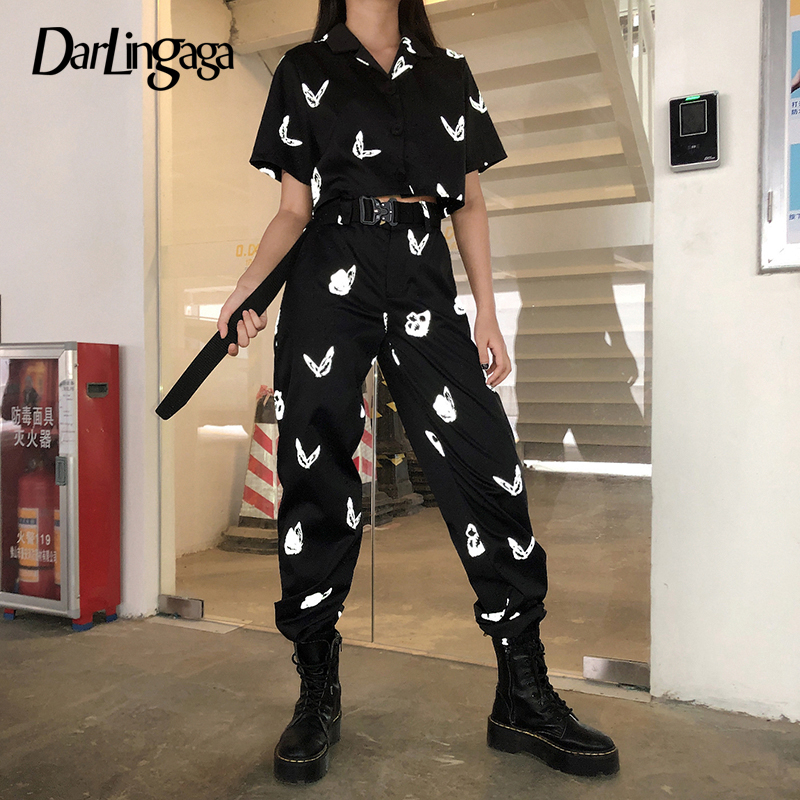 Darlingaga Streetwear Reflective Butterfly Print Two Piece Set Women Tracksuit Summer Cropped Blouse Top And Pants Matching Sets