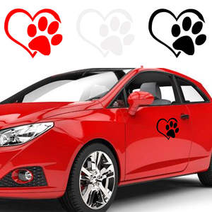Window-Decoration Decal Car-Stickers Dog-Paw-Print Motorcycle White/red Creative The