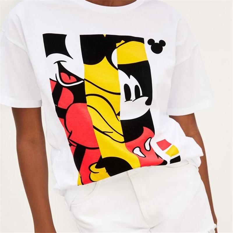 Mickey-Tops-Tees-Feminino-Costura-Padr-o-Das-Mulheres-T-shirt-Dos-Desenhos-Animados-Roupas-Tops
