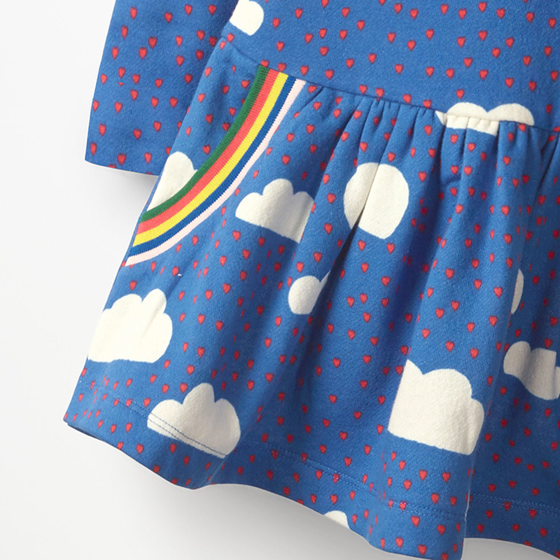 SAILEROAD Cloud Rainbow Print for Kids Dress Autumn Winter Princess Party Tutu Dress Girls Dress Sequins Children's Vestidos 4