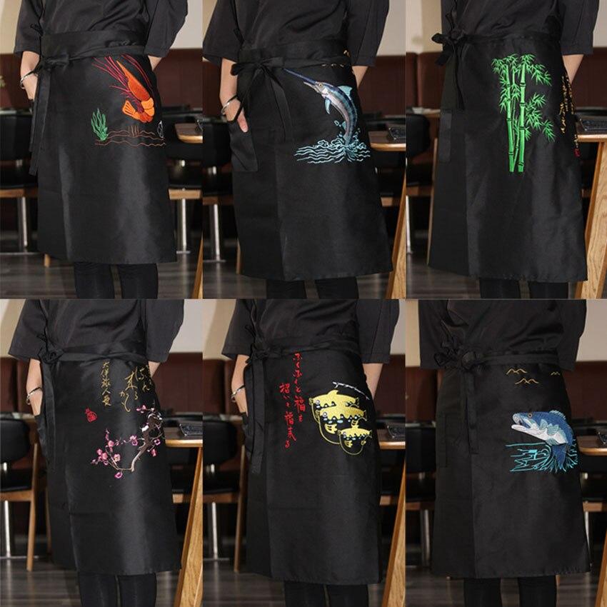 Chef Work&wear Uniform Cooking Baking Aprons Halter Embroidery Plum Blossom Seafood Bib Kitchen Restaurant Anti-oil Apron