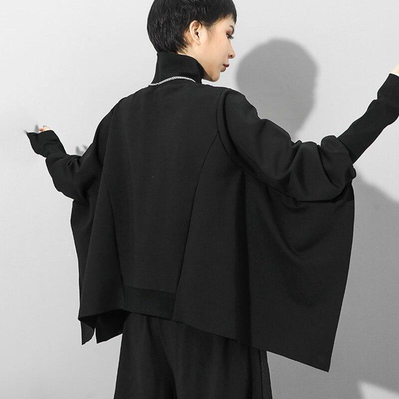 [EAM] Loose Fit Black Irregular Split Joint Sweatshirt New Turtleneck Long Sleeve Women Big Size Fashion Tide Autumn 2020 1Z299 5