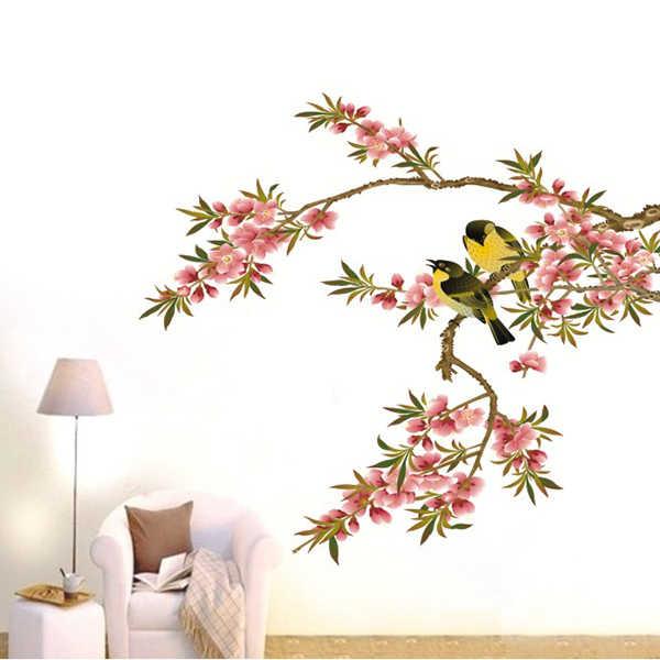 Wandaufkleber Wandtattoo Blumen Perzik Takken Vogels