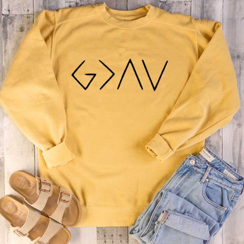 God Is Greater Than The Highs Lows Women Sweatshirt Full Sleeve Believe Jesus Jumper Christian Pullover Ping