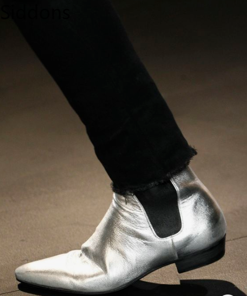 Men Boots Pointy Toe Metal Silver / Gold Char Boots Chelsea Men's Ankle Autumn Boots Wedding Dress Slide Shoes D62