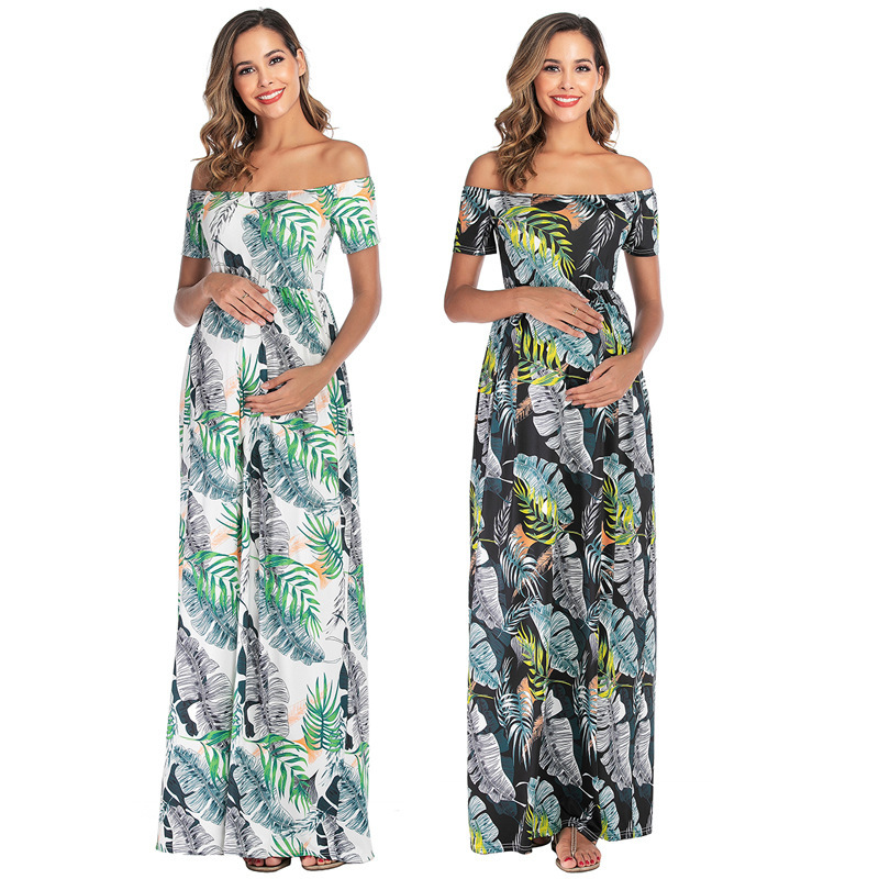 2020 Europe And America WOMEN'S Dress Digital Printing Short Sleeve Off-Shoulder Fold-down Collar Mopping Pregnant Women Dress