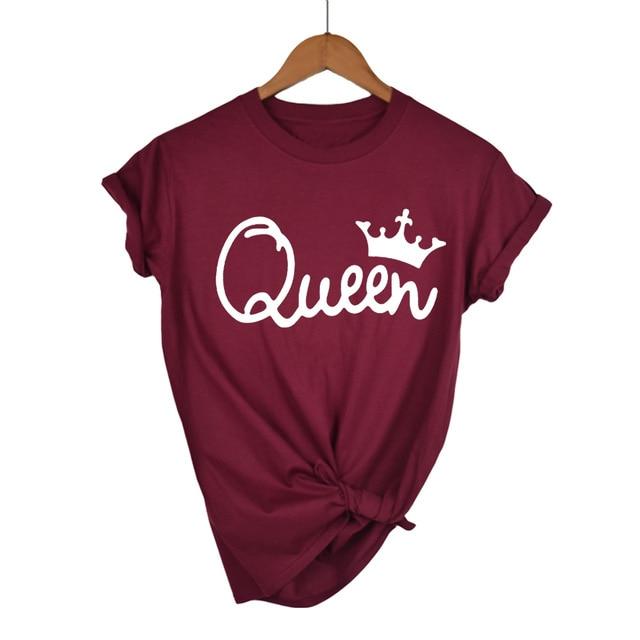 Queen Letter Print T Shirt Women Short Sleeve O Neck Loose Tshirt 2020 Summer Women Tee Shirt Tops Camisetas Mujer