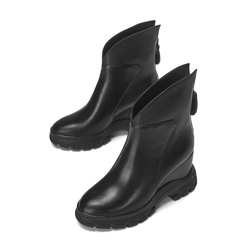 WETKISS Kuh Leder Stiefeletten Frauen Keile Booties Plattform Schuhe Weibliche Runde Kappe Keile Zip Schuhe Damen Winter 2020 Neue - 3