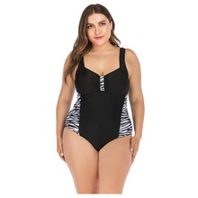 The New One-piece Plus Size Swimsuit Sexy Bikini Zebra-print Leopard Dot High Waist Ladies' Swimsuit 2020 Large Sizes Feminino(China)
