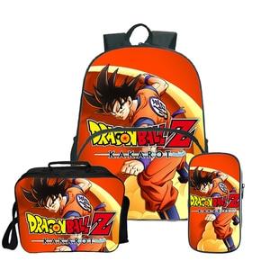 Image 1 - Dragon Ball Super Broly Backpack Pencil Case School Bags  for Teenager Boys Girls  Lunch Backpack 3Pcs/Sets Kids Travel Rucksack