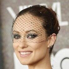 Birdcage Veil Fascinator Crystals Diamante Black Gatsby Masquerade-Ball Bachelorette