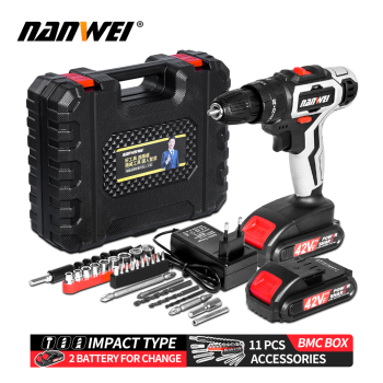 3-In-1 Electric Impact Drill Hammer Drill Electric Screwdriver Rechargable 10mm 2-Speed Cordless Drill cordless drill kraton cdl 12 2 h 12v 1 3 ah li ion 0 300 0 1050 min 15 9 nm in the case