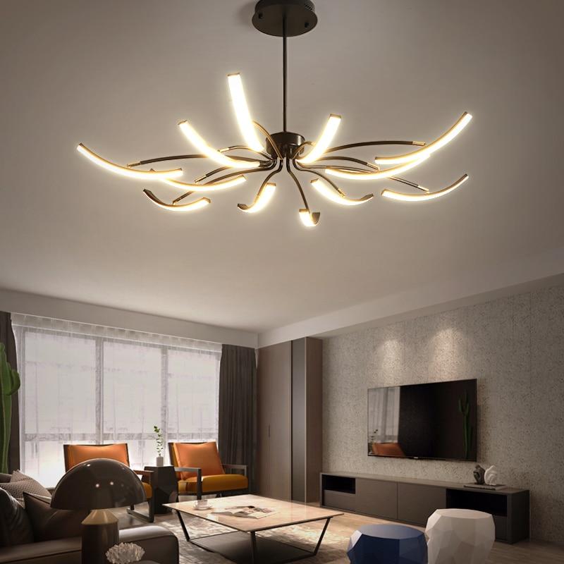 Modern long swing arm Led Chandelie adjustable spider chandelier black / white attic glossy living room bedroom lamps