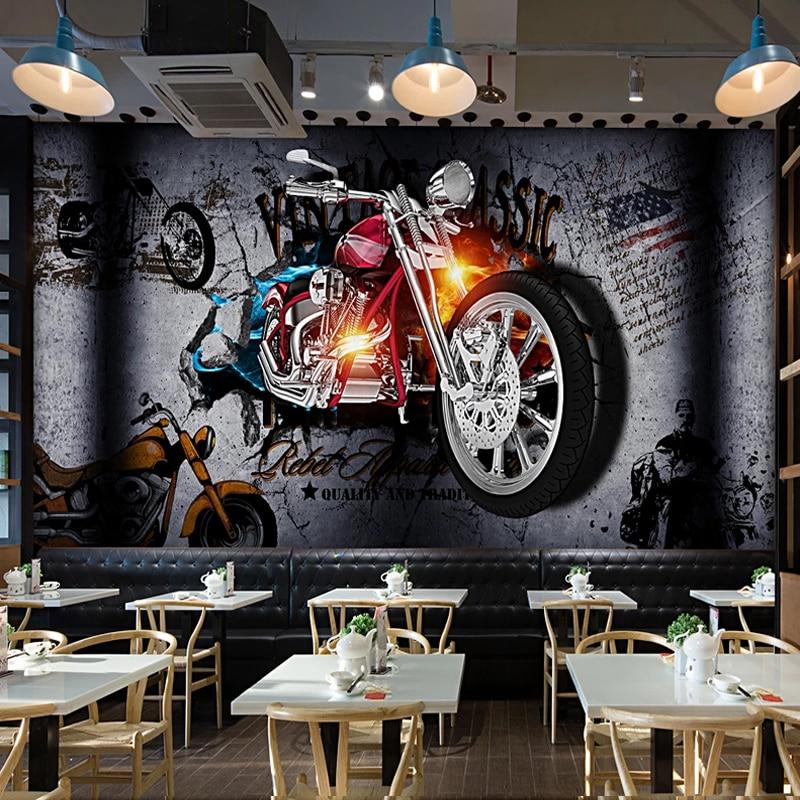 Custom 3D Wall Murals Wallpaper Motorcycle Broken Wall Personality Retro Bar KTV Restaurant Photo Poster Decor Wall Painting
