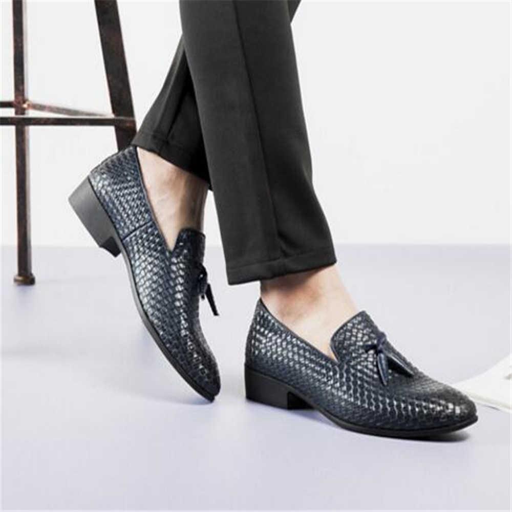 Mannen Lederen Schoenen Mannen Schoenen Merk Braid Leather Casual Driving Oxfords Schoenen Mannen Loafers Mocassins Jurk Schoenmaat 38- 48 Y1043
