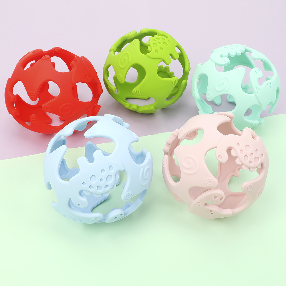 Food Grade Silicone Dinosaur 3D Stereo Tooth Gel Yoga Hand Catch Ball Creative Teether Baby Puzzle Molar Toy