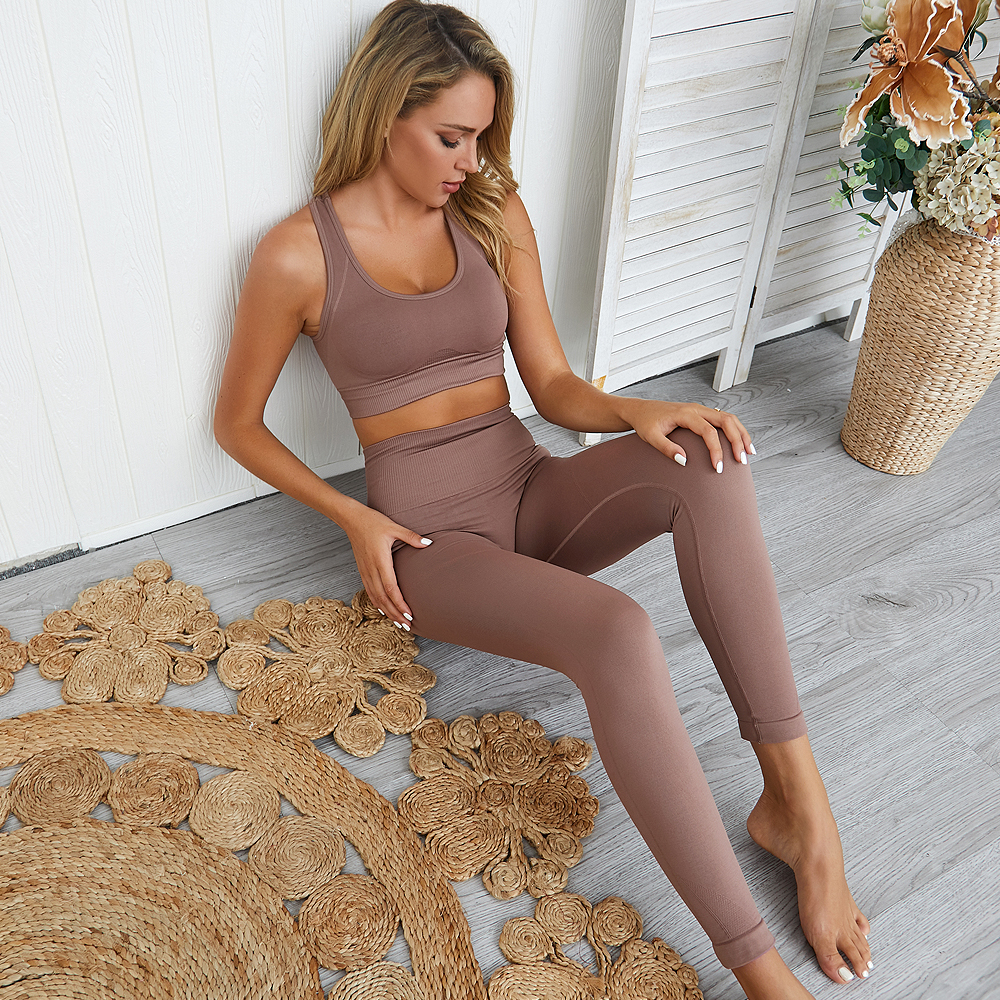 2 Pcs Yoga Sets Women Quick Dry Sport Suit Running Sportwear Workout Crop Top Shockproof Gym Bra Seamless Leggings Tight Gymwear