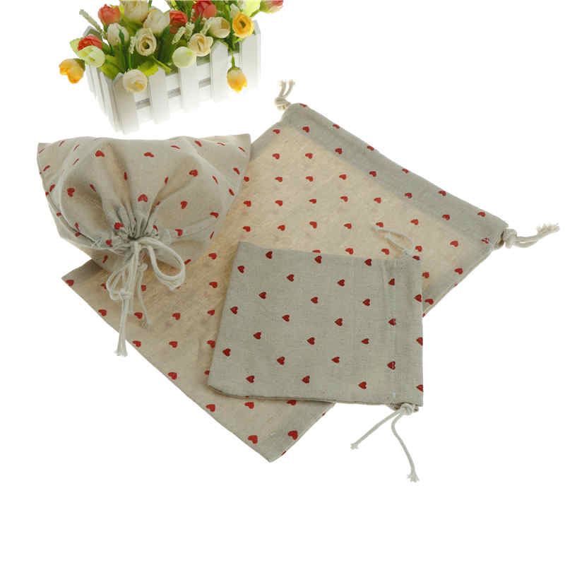 20cm*32cm Cotton Storage Bag Heart Printing Drawstring Travel Makeup Pouch Shoes Bag