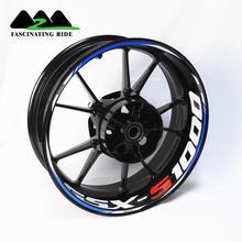 Motorcycle front and rear wheels Edge Outer Rim Sticker Reflective Stripe Wheel Decals ForSuzuki GSX S1000 s750 s650