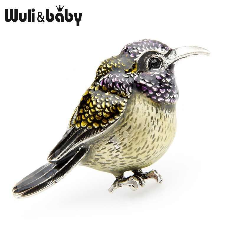 Wuli & bebê gordo roxo pássaro broches feminino liga esmalte animal casual festa broche pinos presentes